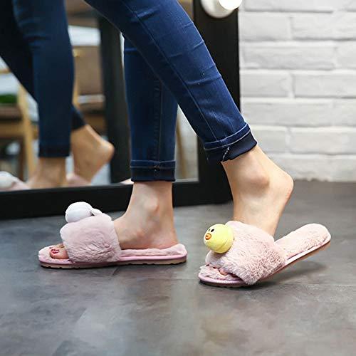 Sandals Women Flops Warm Shoes Bear Duck Home Girls's Cute Flats Slippers Flip Pink Winter and Fur Slides Plush q4B7wqAx