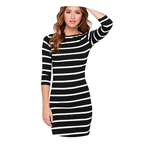 - Dresses Autumn Women Sexy ming Wrap Casual Striped Bodycon Dress,Beige,M