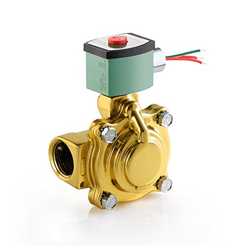 ASCO 8221G009-120/60,110/50 Brass Body Pilot Operated Slow Closing Solenoid Valve, 1-1/4'' Pipe Size, 2-Way Normally Closed, Nitrile Butylene Sealing, 1-1/8'' Orifice, 13 Cv Flow, 120V/60 Hz, 110V/50 Hz by Asco