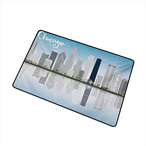 BeckyWCarr Chicago Skyline Inlet Outdoor Door mat Skyscrapers Lake Michigan Illinois Classic American Scenery Street Catch dust Snow and mud W29.5 x L39.4 Inch,Baby Blue Pale ()