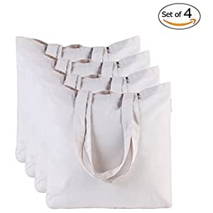 Canvas Bag by Dimayar 4pcs Washable Canvas Shopping Bag Resuable Grocery Bags Cloth Shopping Bags Canvas Tote Bag Perfect for Crafting Decorating