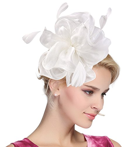 Urban CoCo Women's Vintage Flower Feather Mesh Net Fascinator Hair Clip Hat Party Wedding (Series 4-White)