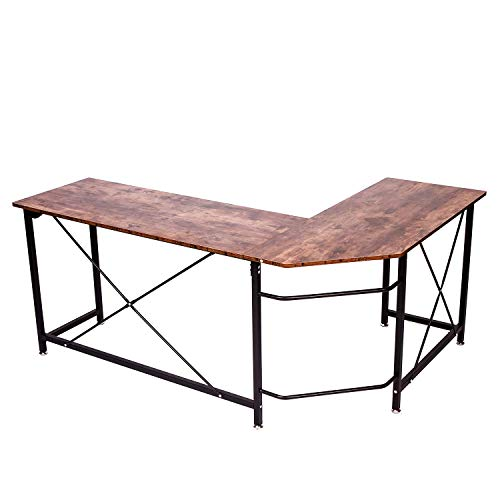 IRONCK Industrial L Shaped Computer Desk, Corner Desk, Gaming Table, Study Writing Table Workstation for Home Office, Metal Frame, Easy Assembly