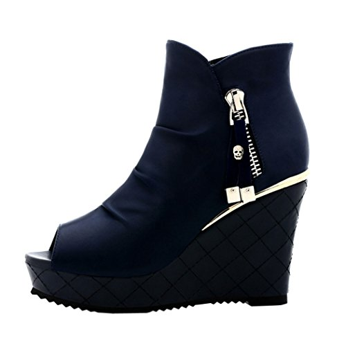 Guciheaven Women New Summer British Style Beautiful Platform Shoes(8 B(M)US, Blue)