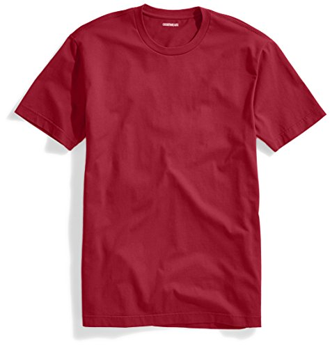 Goodthreads Men's Short-Sleeve Crewneck Cotton T-Shirt, Red, Medium (Shirt Crewneck Ribbed)
