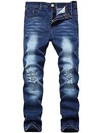 Boy's Blue Skinny Fit Ripped Destroyed Distressed Stretch Slim Denim Jeans Pants C1 14