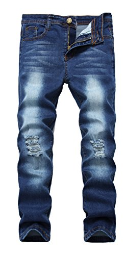 Boy's Blue Skinny Fit Ripped Destroyed Distressed Stretch Slim Denim Jeans Pants...