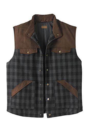 Boulder Creek Men's Big & Tall Plaid Multi-Pocket Vest, Buffalo Plaid Big-2Xl