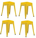 Industrial Design Metal Iron Stool 18'' Set of 4 Duhome WY-665A Metal Chair (Yellow)