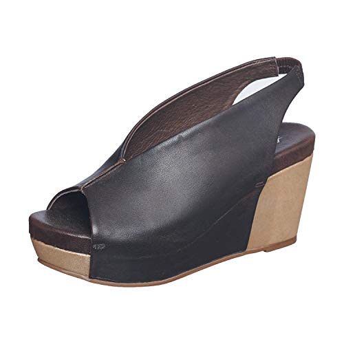 Antelope Women's 915 Coffee Leather Peep Toe Bottom Wrap Wedge Sandals 36