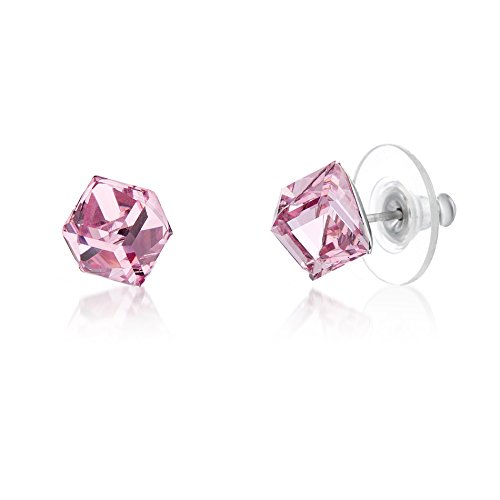 LESA MICHELE Pink Cube Earrings for Women in Stainless Steel made with Swarovski Crystals (Light ()