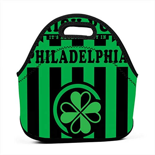 Neoprene Lunch Bag, It's Always Sunny in Philadelphia Paddy's Irish Pub Green Lunch Bags for Women Kids Girls Men Teen Boys, Insulated Lunch Tote Box for Work School Travel and Picnic