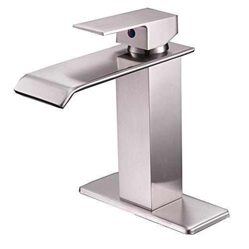 Bathlavish Waterfall Brushed Nickel Bathroom Sink Faucet Deck Mount Single Handle One Hole Lavatory Faucet Commercial