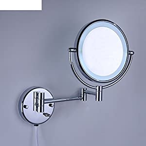 Bathroom Mirror Wall Makeup BandledLight Sided Folding Retractable Magnifying