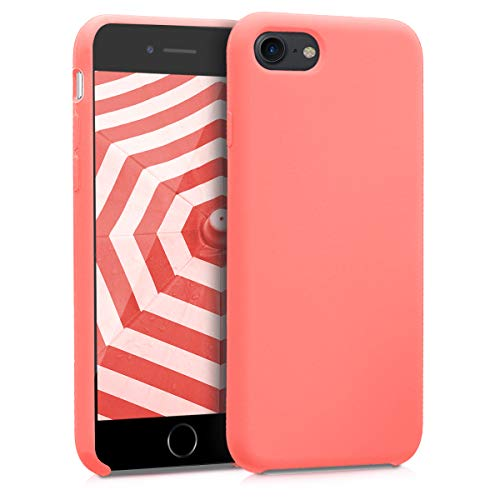 (kwmobile TPU Silicone Case for Apple iPhone 7/8 - Soft Flexible Rubber Protective Cover - Neon Coral)