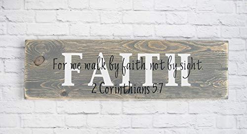 Christian Wood Sign - Bible Verse Wall Décor - Faith - Costumer Wall Hangers