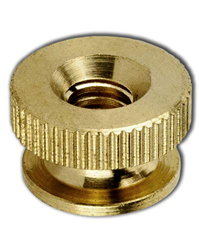 Solid Brass Knurled Thumb Nuts Lock Nuts for Wheels Super S Round and Round Super Deal Pack Knurled Thumb Knurled Nuts Thumb Nut Brass 10-32 (25 Pcs) Super-Deals-Shop (Brass Locknut)