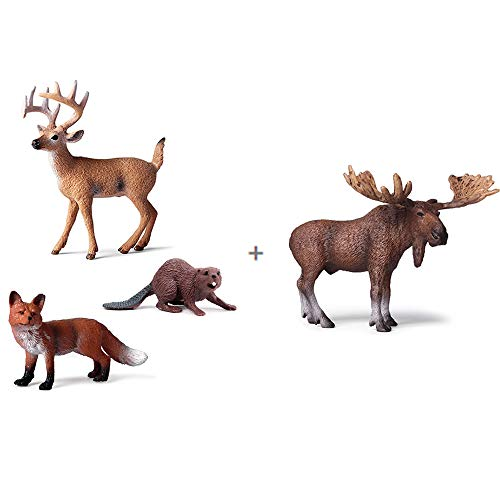 EOIVSH 4 PCS Forest Animal Figurines Buck/Moose/Fox/Beaver, Woodland Animal Cake Toppers Educational Miniature Playset Toys Party Supplies Cute Decoration for Baby Shower Birthday