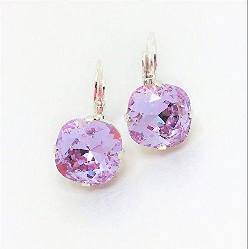 Handmade Silver Plated Swarovski Violet 12mm Cushion Cut Crystal Earrings by LynnsGemCreation