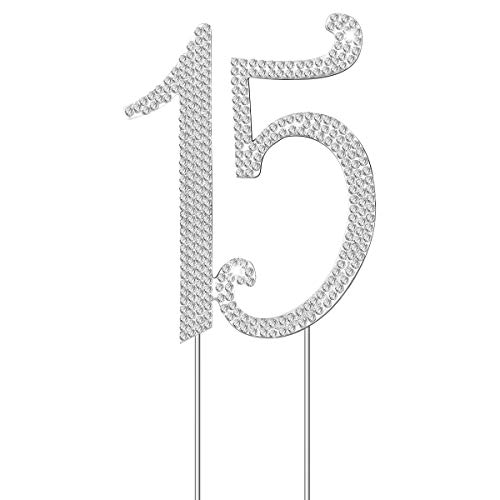 OULII Birthday Number Cake Topper Anniversary Crystal Rhinestones Decorative Cupcake Topper for 15th Birthday Party Supplies (15)