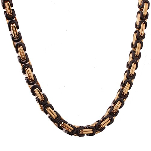 (4/6/8mm Fashion Mens Chain Boys Stainless Steel Byzantine Box Chain Necklace Bracelet 7