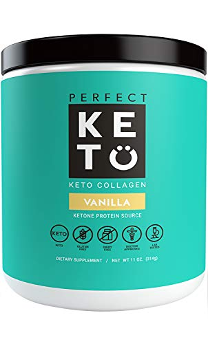 Perfect Keto Protein Powder Vanilla: Grass Fed Collagen Peptides Low Carb Keto Drink Supplement with MCT Oil Powder - Best as Keto Drink Creamer or Added to Ketogenic Diet Snacks. Paleo & Gluten Free