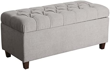 HomePop Ainsley Linen Button Tufted Storage Bench with Hinged Lid, Grey