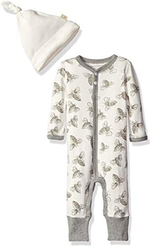 Burt's Bees Baby Boys' Convertible Foot Organic Coverall with Hat