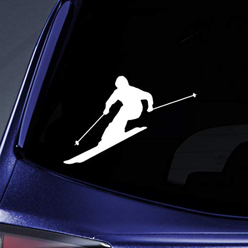 (Bargain Max Decals Skier Silhouette Sticker Decal Notebook Car Laptop 5.5
