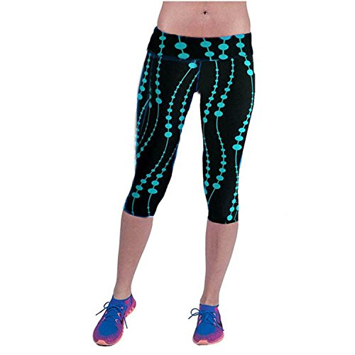 Orcan Bluce Women High Waist Workout Fitness Pants Printed Stretch Plus Size Cropped Leggings 41yy4OcNQQL