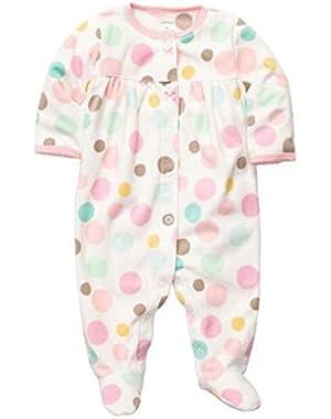 Carters Infant Girls Plush Pastel Polka Dot Sleeper Sleep & Play Pajamas