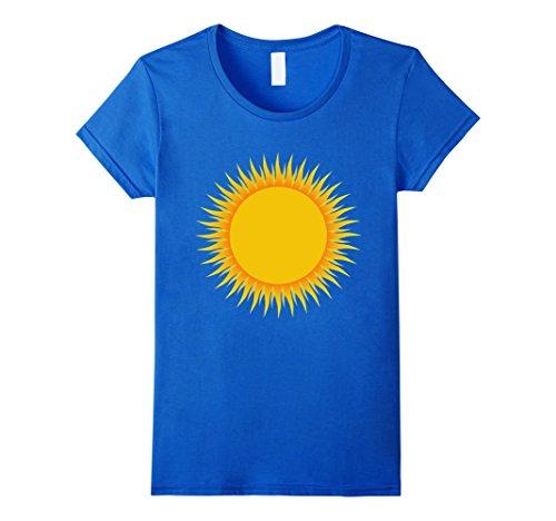 Womens Sun Sunny Days Costume Shirt Rainbow Rain Cloud Thunderstorm XL Royal Blue