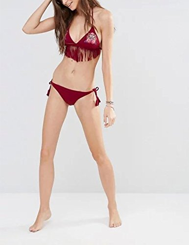 MODETREND Mujer Bañador Biquinis con Borla Push up Rosa Bordado Bikinis Tanga Traje de Baño Beachwear Swimsuit Swimwear Dos Pieza Marrón