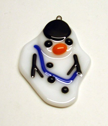 Melted Snowman with a Blue Scarf Unique Handmade Fused Glass Christmas Ornament