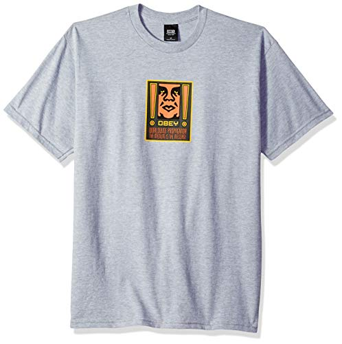 Obey Men's Exclamation Heavyweight Tshirt, Heather Grey, Small