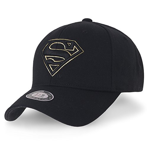 ililily Superman Baseball Cap Superman Shield Embroidery Fitted Trucker Hat, Black & Gold Logo, Large (Superman Classic Cap)