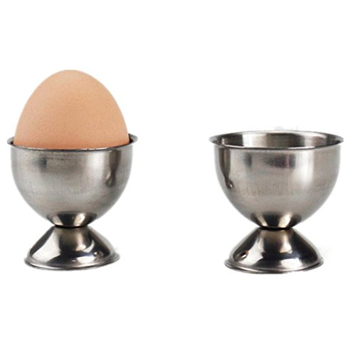 Egg Cup, Jiayit Handy Stainless Steel Soft Boiled Egg Cups Egg Holder Tabletop Cup Kitchen Tool (Silver) (Balloon Whisk Round Tools)