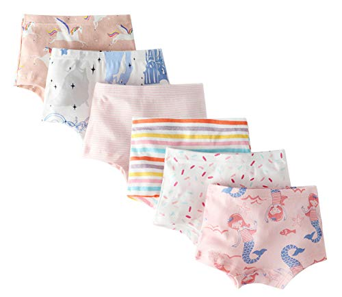 - CHUNG Toddler Little Girls Cotton Soft Cute Boyshort Panties Underwear 6 Pack Mermaid Stripes 2-9Y MermaidHorse,4T