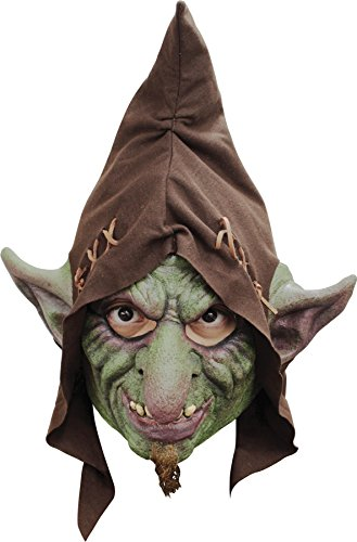 UHC Domovik Goblin Evil Gnome Troll Green Latex Mask & Hood (Scary Gnome)