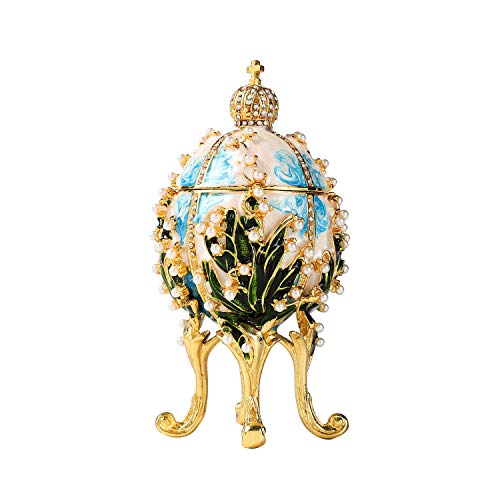 Enamel Egg Box - Furuida - Collector's Edition of The Faberge Egg: The Unique Design Jewelry Trinket Box with Rich Enamel and Sparkling Rhinestones | Perfect to Store Your Jewelry | Luxurious Gift for Home Decor