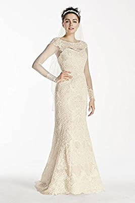 Lace Oleg Cassini Illusion Long Sleeve Wedding Dress Style CWG712