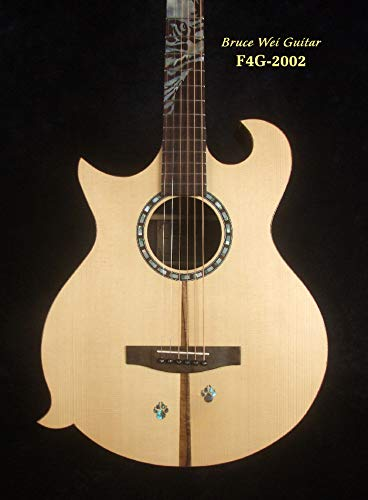 LEFT-HANDED Solid Indian Rosewood F4 Guitar, Mop TIGER Inlay, Hard Case F4G-2002