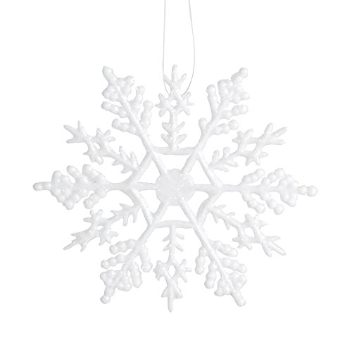 Darice 4-Inch Glitter Snowflake Ornament- 10-Piece Per Package, White (Pack of 3)