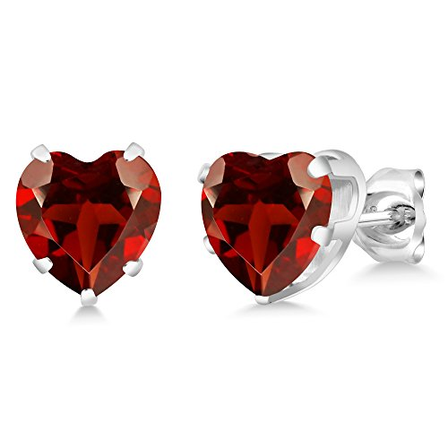 4.00 Ct Heart Shape 8MM Natural Red Garnet 925 Sterling Silver Gemstone Birthstone Stud Earrings