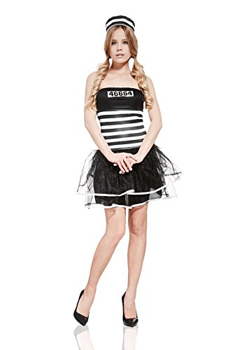 Themed Costume Ideas Australian (Adult Women Sexy Prisoner Halloween Costume Convict Jailbird Dress Up & Role Play (One size fits)