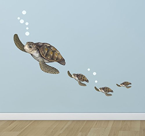 Create-A-Mural Sea Turtle Family Decals ~Ocean Vinyl Tortoise Underwater Wall Sticker Decor (Underwater Murals Wall)