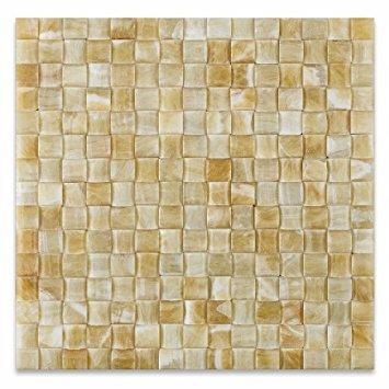 Honey Onyx 3D Small Bread Mosaic Tile, Polished - Box of 5 sq. -