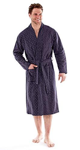 4bdff959ac harvey james Mens Pure Cotton Paisley Flannel Kimono Wrap MN96 Grey Large