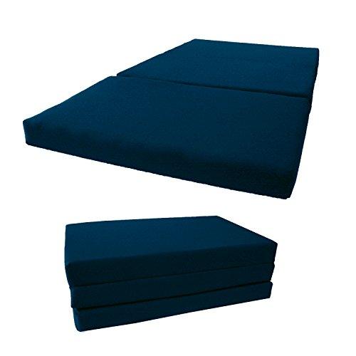 D&D Futon Furniture Shikibuton Tri Fold Foam Beds, Tri-Fold Bed, High Density 1.8 lbs Foam, Twin Size, Full, Queen Folding Mattresses. (Full Size 4x54x75, Navy Blue)