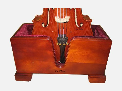 Vio Music Cello Wooden Stand Burgundy Velvet Plush Cushions by Vio Music